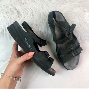 Mephisto Gray Leather Sandals